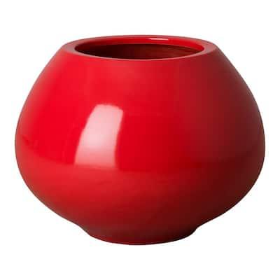 17 in. Batto Zen Coral Red Ceramic Vase