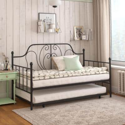 Lucy Black Metal Twin/Twin Daybed and Trundle