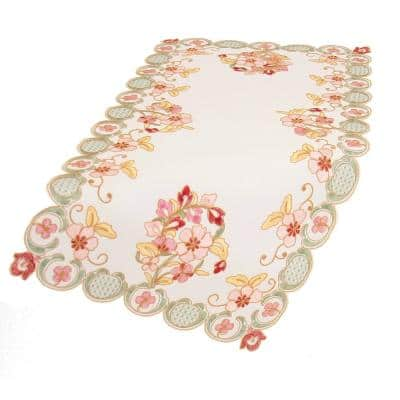 Primrose 16 in. x 34 in. Embroidered Cutwork Table Runner, Off White