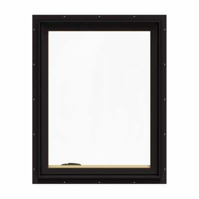 28.75 in. x 36.75 in. W-2500 Series Black Painted Clad Wood Left-Handed Casement Window with BetterVue Mesh Screen