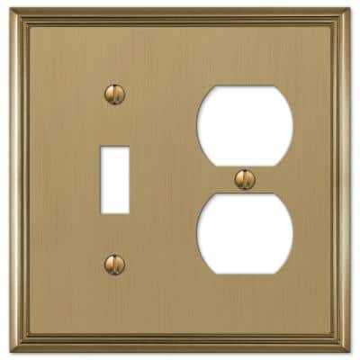 Rhodes 2 Gang 1-Toggle and 1-Duplex Metal Wall Plate - Brushed Bronze