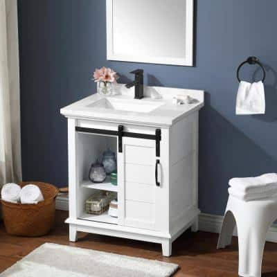 Edenderry 30 in. W Bath Vanity in White with Engineered Stone Composite Vanity Top in White with White Basin