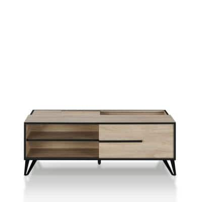 Aubert 48 in. Natural Oak Large Rectangle Wood Coffee Table with Shelf