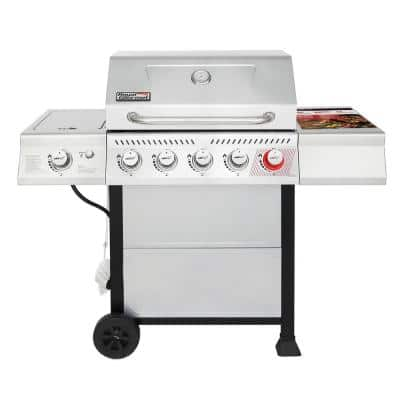 5-Burner Propane Gas Grill in Stainless Steel with Sear Burner and Side Burner
