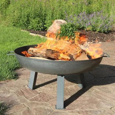 30 in. x 15 in. Round Cast Iron Wood Burning Fire Pit Bowl in Steel