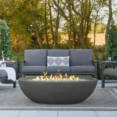 Riverside 58 in. W x 32 in. D Outdoor MGO Large Oval Propane Fire Bowl in Shale with Push Button Ignition