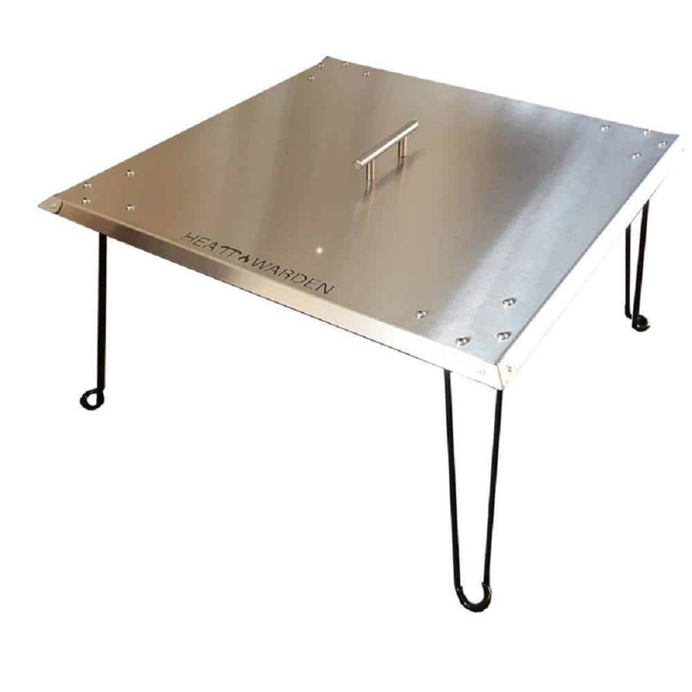 Heat Warden 13 In H X 34 In W X 24 In D Heat Warden Fire Pit Heat Deflector In Stainless Steel Gm Wg27 Gwau The Home Depot