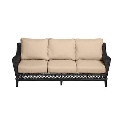 Woodbury Dark Brown Wicker Outdoor Patio Sofa with CushionGuard Toffee Tan Cushions