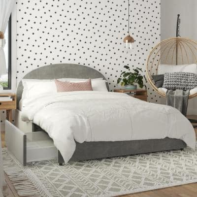 Moon Light Gray Velvet Upholstered Full Size Bed with Storage