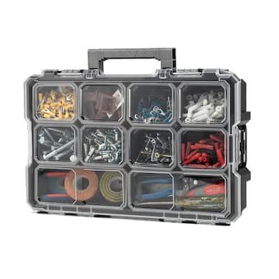 10-Compartment Interlocking Small Parts Organizer in Black