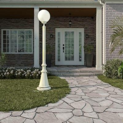 European Single White Globe Plug-In Outdoor White Lantern Patio