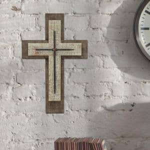 10 in. x 16 in. Brown Weathered Wood Wall Cross with Metal Accents