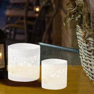 White Iron Votive Candle Holder Compartments Snowflake Pattern with Handles Lantern (Set of 2)