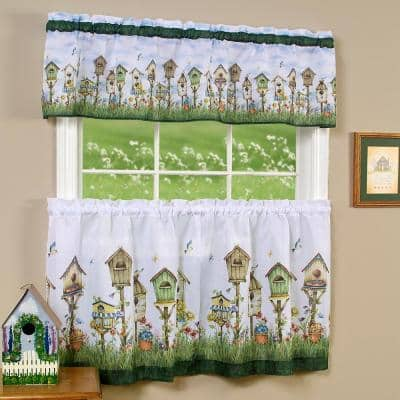 Home Sweet Home Multi-Color Polyester Light Filtering Rod Pocket Tier and Valance Curtain Set 58 in. W x 36 in. L