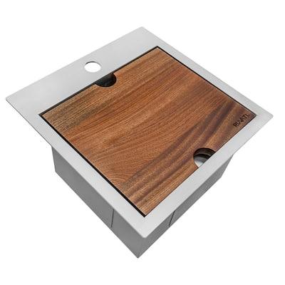 Siena 16 Gauge Stainless Steel 15 in. x 15 in. 1-Hole Drop-in Workstation Bar Sink