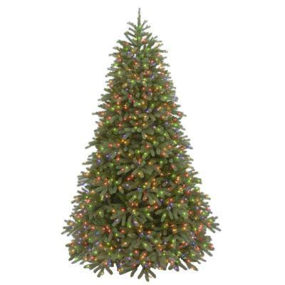 7-1/2 ft. Feel Real Jersey Fraser Medium Fir Hinged Artificial Christmas Tree with 1000 Multicolor Lights