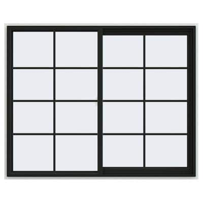 60 in. x 48 in. V-2500 Series Bronze FiniShield Vinyl Right-Handed Sliding Window with Colonial Grids/Grilles