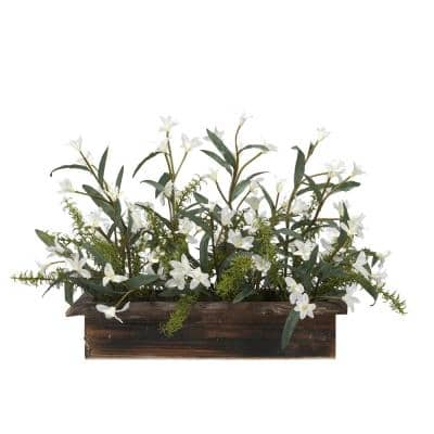 30 in. Indoor White Phlox Flowers in Rectangle Wooden Planter