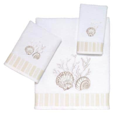 3-Piece White Destin Cotton Towel Set