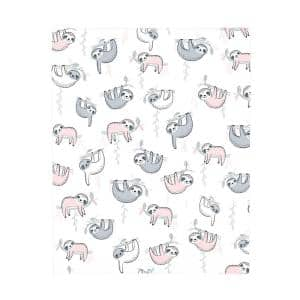 Super Soft Pink, Grey and White Sloth Polyester Fitted Crib Sheet