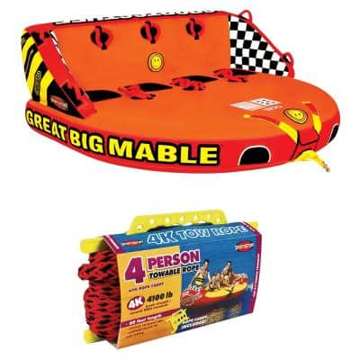 Great Big Mable 4-Rider Inflatable Towable Tube with Tow Rope