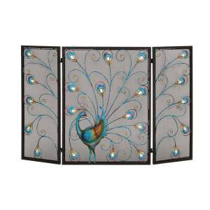 3-Panel Decorative Fireplace Screen, Iron Fireplace Multi Cover With Peacock Design, 48 x 32 in.