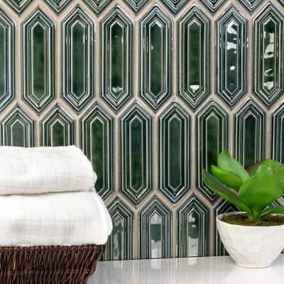 Delphi Hexagon Deep Emerald 9.5 in. x 15.5 in. Glazed Ceramic Mosaic Tile (1.02 sq. ft./Sheet)