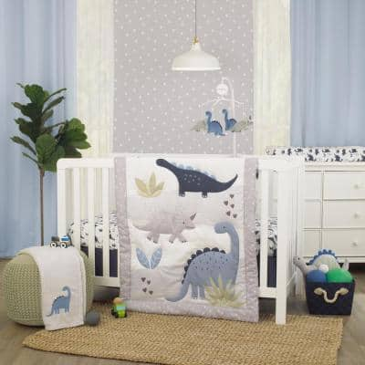 Dino Adventure Gray and Blue 3 Piece Crib Bedding Set - Comforter Fitted Polyester Crib Sheet and Crib Skirt