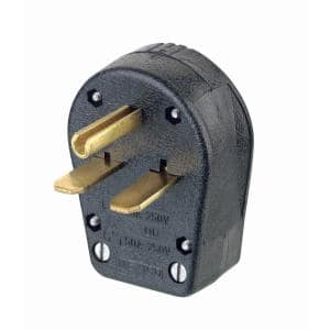 30/50 Amp 2-Pole/3-Way Grounded Angle Straight Blade Plug, Black