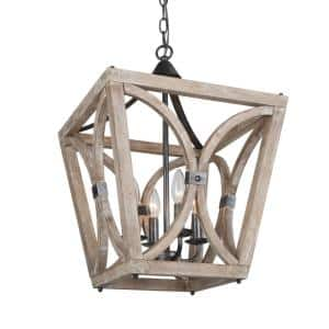 Cumax 15.5 in. 4-Light Rustic Farmhouse Island Solid Wood Chandelier with Geometric Cage