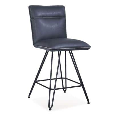 37 in. H Blue and Black Metal Leather Upholstered Counter Height Stool with Hairpin Style Legs