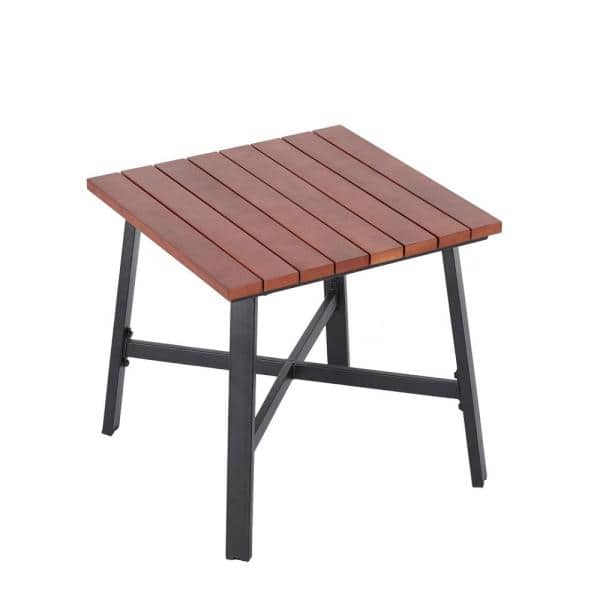 Hampton Bay Plaza Mayor Square Wood Outdoor Accent Table   The Home Depot