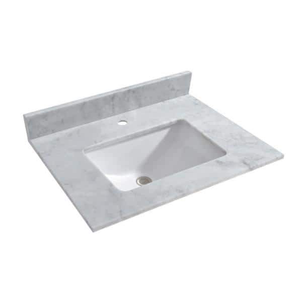 Woodbridge Newton 31 In X 22 In Carrara Marble Vanity Top With Square Sink For Single Hole Installation In Carrara White Cavt3122 1 The Home Depot