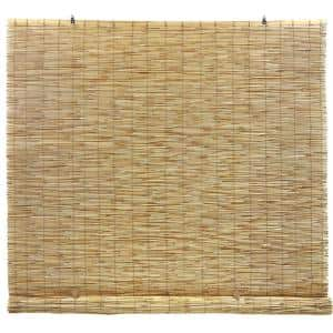 Natural Cordless Light Filtering Bamboo Reed Blind Interior/Exterior Manual Roll-Up Shade 72 in. W x 72 in. L