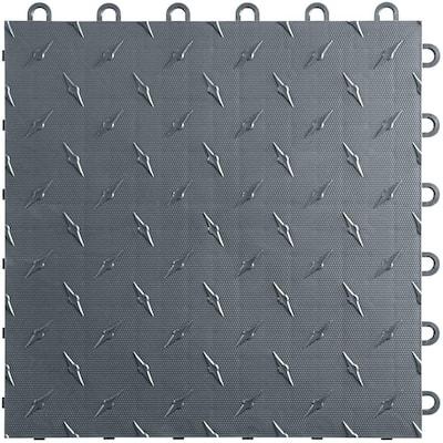 Slate Grey 12 in. W x 12 in. L Diamondtrax Flex Modular Polypropylene Gym Flooring (10-Tile/Pack) (10 sq. ft.)