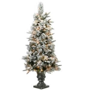 4 ft. Feel Real Frosted Colonial Fir Artificial Christmas Entrance Tree with 100 Clear Lights in Silver Urn