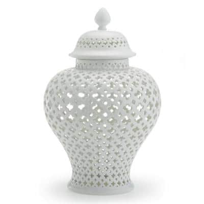 Carthage Large Pierced Covered Lantern - Porcelain 16 in. H x 10 in. Dia.