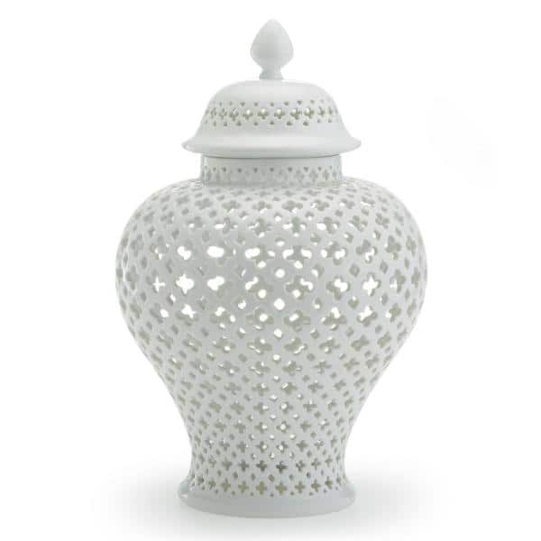 Two S Company Carthage Large Pierced Covered Lantern Porcelain 16 In H X 10 In Dia 6268 The Home Depot