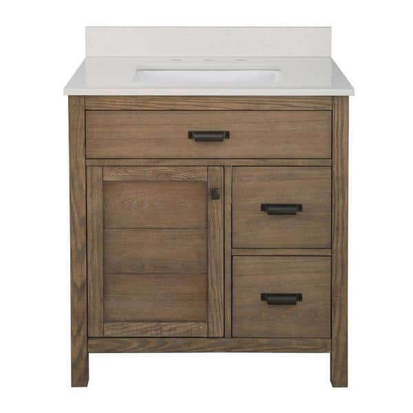 Home Decorators Collection Stanhope 31 In W X 22 In D Vanity In Reclaimed Oak With Engineered Stone Vanity Top In Crystal White With White Sink Snovt3122dr The Home Depot