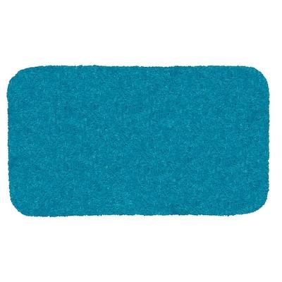 Royal Caribbean Blue 24 in. x 40 in. Nylon Machine Washable Bath Mat