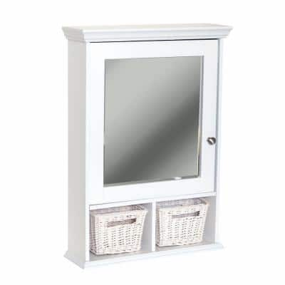 21 in. x 29 in. Wood Surface Mount Medicine Cabinet with Baskets in White with Beveled Mirror