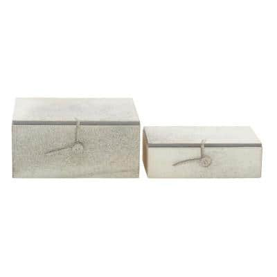 Rectangular Wood and Leather Hide Gray Buttoned Boxes (Set of 2)