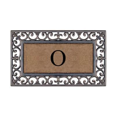 First Impression Classic Paisley Border Bronze 18 in. x 30 in. Rubber and Coir Monogrammed O Door Mat