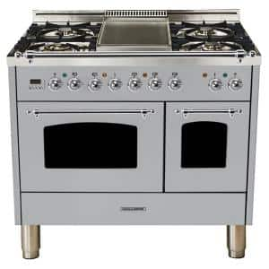40 in. 4.0 cu. ft. Double Oven Dual Fuel Italian Range True Convection,5 Burners, Chrome Trim in Stainless Steel