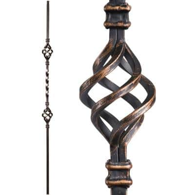 Twist and Basket 44 in. x 0.5 in. Oil Rubbed Bronze Double Basket Solid Wrought Iron Baluster