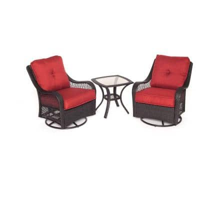 Orleans 3-Piece All-Weather Wicker Patio Swivel Rocking Chat Set with Autumn Berry Cushions