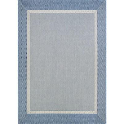 Recife Stria Texture Champagne-Blue 2 ft. x 4 ft. Indoor/Outdoor Area Rug