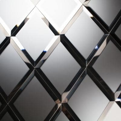 Reflections Frosted Silver Beveled Diamond 6 in. x 8 in. Matte Glass Mirror Wall Tile (16 sq. ft./Case)