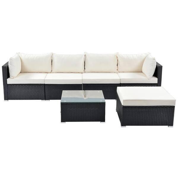 Mondawe Black 6 Piece Pe Rattan Wicker, Wicker Indoor Furniture