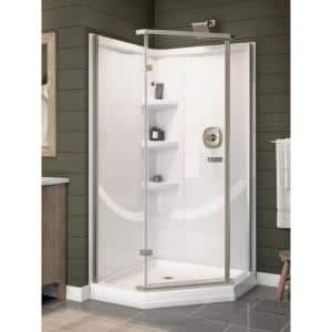 Classic 38 in. W x 73.88 in. H 2-Piece Direct-to-Stud Corner Shower Wall Surround in White